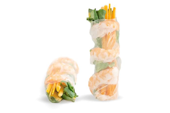 Carta di riso, gambero cotto, songino, carota, avocado, philadelphia