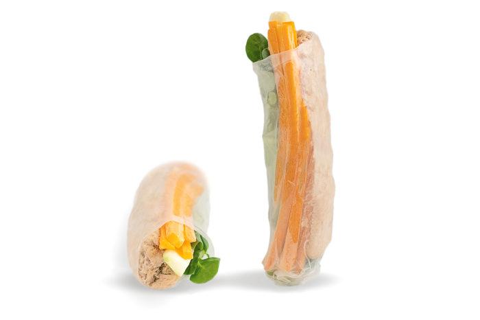 Carta di riso, salmone, songino, carota, avocado, philadelphia
